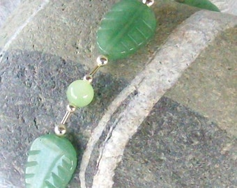 Green leaves liquid silver Bracelet