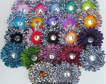 SALE YOU Pick 12 (1 Dozen) Layered Zebra Gerbera Daisy Flower Heads 4 Inch With 22 mm Crystal Rhinestone High Quality