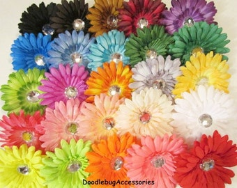 YOU PICK 4 Gerber Daisy Flower Heads 4 Inch With 22 mm Crystal Rhinestone HIGH Quality Choose From 26 Colors