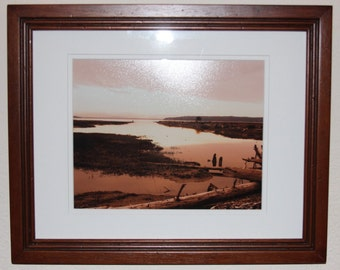 Toned Water Scene in Skagit Valley, WA. Matted and Framed 11x14