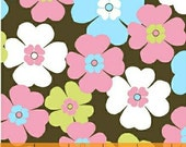 Windham Fabric Flower Power Floral Brown Pastel 1 yard and 20 inches LAST
