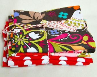 Josie Scraps Large Pack Quilt Fabric Pieces Bundled Floral Bird and Cat Lot