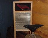 Primitive Folk Art Bird Penny Rug on Vintage Washboard