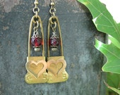 Upcycled Jewelry - Antique WWII Laundry Pin Earrings - Heart Filigrees and Ruby Faceted Beads