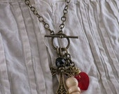 Twilight Inspired Jewelry - Upcycled Wooden Pawn Chess Piece, Heart and Crucifix Toggle Clasp Necklace - Breaking Dawn