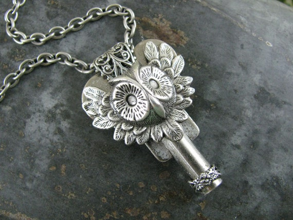 Key Jewelry - Owl Head Steampunk Inspired Antique Skate Key Pendant in Antique Silver