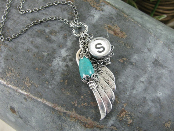 """Typewriter Key Jewelry - Angel Wing or Memories Necklace with Authentic White Initial """"S"""" Typewriter Key and Turquoise Nugget"""