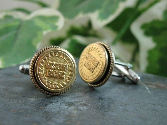 Upcycled Button Jewelry - Missouri Pacific Railways Converted Cuff Button Cuff Links