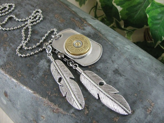 Shotgun Casing Jewelry - Unisex Stainless Steel Dog Tag, Federal 12 Gauge & Double Feather Charm Necklace - Military Inspired, Edgy, Stylish