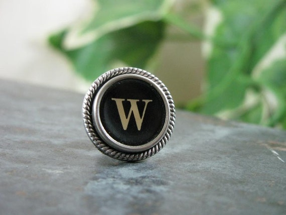 """Gift for Man - Authentic Black """"W"""" Typewriter Key Tie Tack / Lapel Pin / Purse or Hat Pin"""