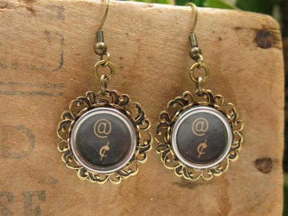 Upcycled Typewriter Key Jewelry - Authentic Black Function Key Dangle Earrings