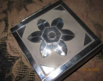 vintage metal flower jewelry box OOAK handmade