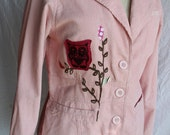 owl pink corduroy womens applique and screenprinted jacket