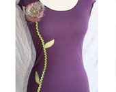women thread flower cap sleeve applique shirt