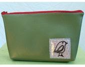 vintage vinyl sage green applique and screenprint bird make up bag