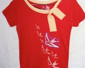 Girls Red screenprinted Bird shirt with Applique