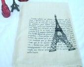 handprinted original french eiffel tower paris artwork tea towel