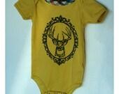 organic cotton applique and screenprint deer infant onesie bodysuit