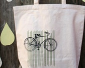 random nicole hand screenprinted vintage bicycle tote cotton canvas with stripes