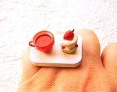 Tea Ring Cute Miniature Food Jewelry Tea and Strawberry Cake Ring