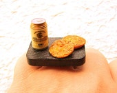Beer Ring Miniature Food Jewelry Beer And Senbei Crackers Traditional Japanese Food