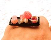 Japanese Food  Ring Miniature Food Jewelry Onigiri