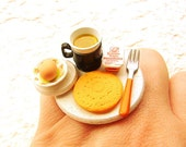 Food Ring Hard Boiled Egg Pancake Syrup Coffee Breakfast