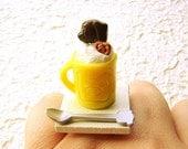Kawaii Food Ring Ice Cream Sundae Chocolate Lollipop Miniature Food Jewelry SALE