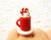 Hot Chocolate Ring  Miniature Food Jewelry SALE