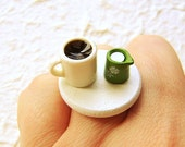 Coffee Ring Miniature Food Jewelry Coffee Cream CIJ Christmasinjuly