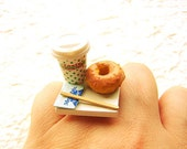 Kawaii Cute Japanese Ring Coffee And A Donut To Go Miniature Food Jewelry