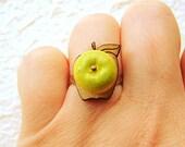 Kawaii Food Ring Green Apple On Wood Base