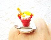 Kawaii Food Ring Ice Cream Sundae Miniature Food Jewelry SALE