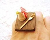 Kawaii Japanese Food Ring  Cake Flower Food Jewelry Traditional