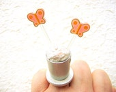 Butterfly Ring MIniature Food Jewelry Ice Cream and Butterflies