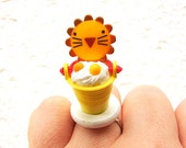 Lion Ring Cute Miniature Food Jewelry Ice Cream SALE