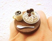 Kawaii Japanese Food Ring Coffee Ice Cream Food Jewelry Traditional
