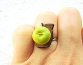 Apple Ring Kawaii Miniature Food Jewelry Green Apple On Apple Base