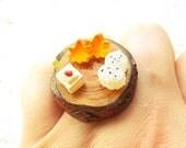 Japanese Food  Ring  Miniature Food Jewelry Vegetables Tofu Rice Onigiri