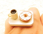 Breakfast  Ring  Coffee And A Bagel Food Jewelry