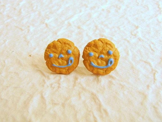Cookie Earrings Miniature Food Jewelry Smiley Face Cookies Gifts Under 10 SALE