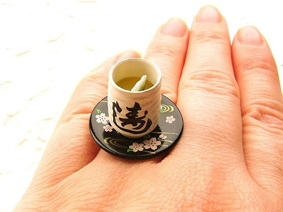 Green Tea Ring Miniature Food Jewelry