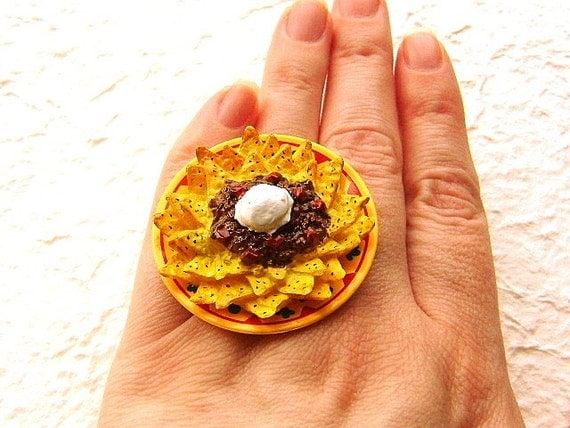 NachosRing Miniature Food Jewelry Mexican Food