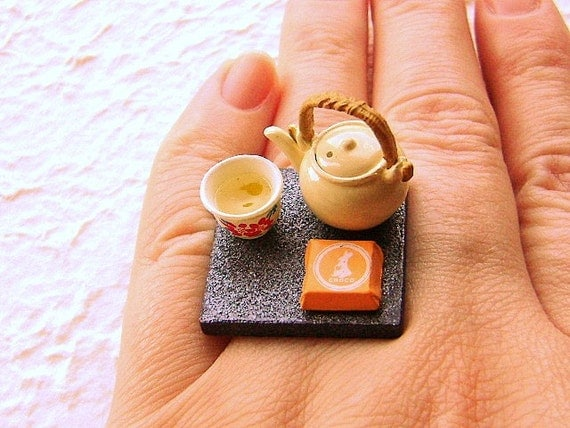 Kawaii Cute Japanese Ring Tea  Teapot Cup Food Jewelry