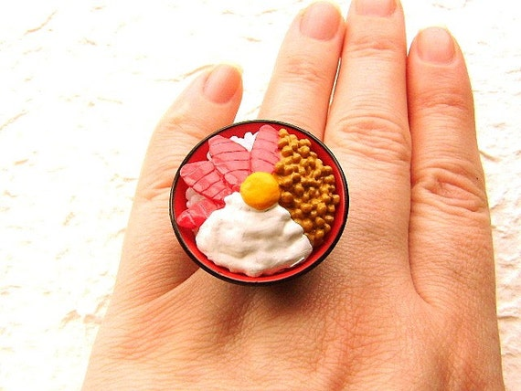 Japanese Food  Ring Miniature Food Jewelry Maguro Don Bowl Of Rice With Toppings SALE