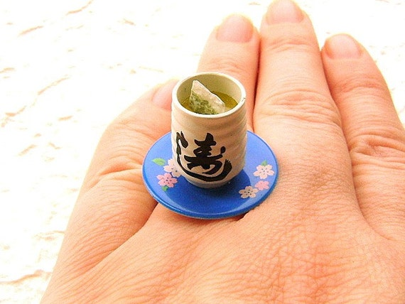 Green Tea Ring Miniature Japanese Food Jewelry