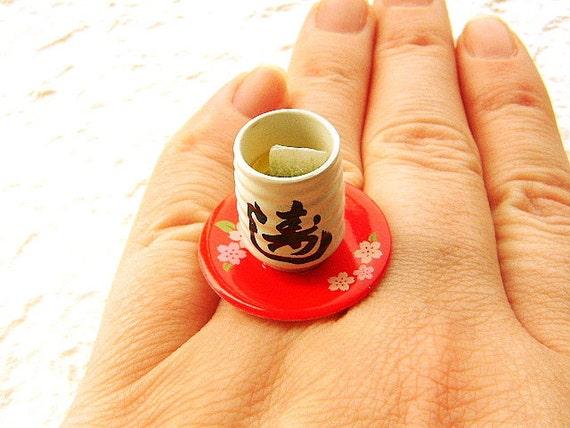 Kawaii Cute Japanese Ring - Green Tea Miniature Food Jewelry