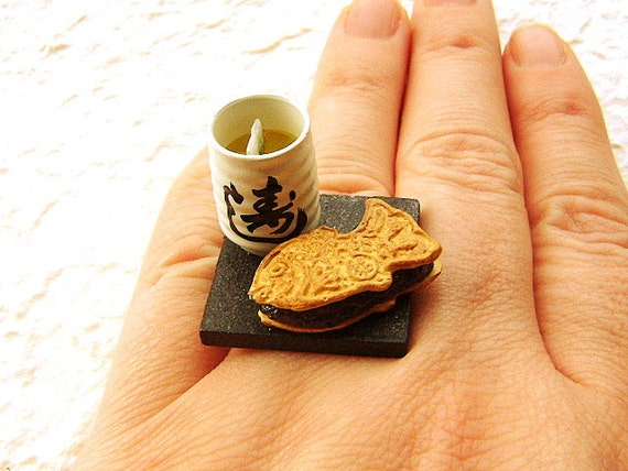 Japanese Food Ring Green Tea And  Red Bean Paste Taiyaki Miniature Food Jewelry