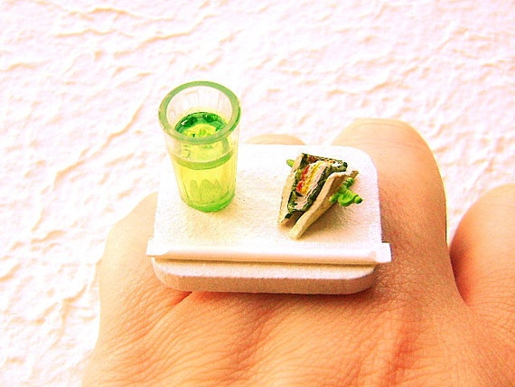 Sandwich Ring With Soda Miniature Food Jewelry Gifts Under 10