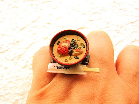 Miso Soup Ring Miniature Food Jewelry Traditional Japanese Food